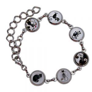 Bracelet cirlce blk white cats (2)