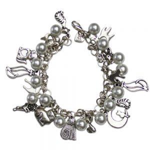 Charm bracelet white silver
