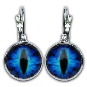 Earings loop blue cat eyes