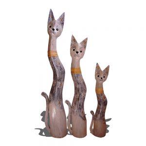 Large wooden cat trio 2