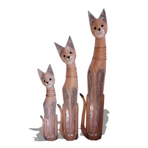 large wooden cat trio 1