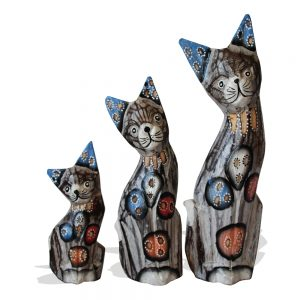 wooden cats small blue
